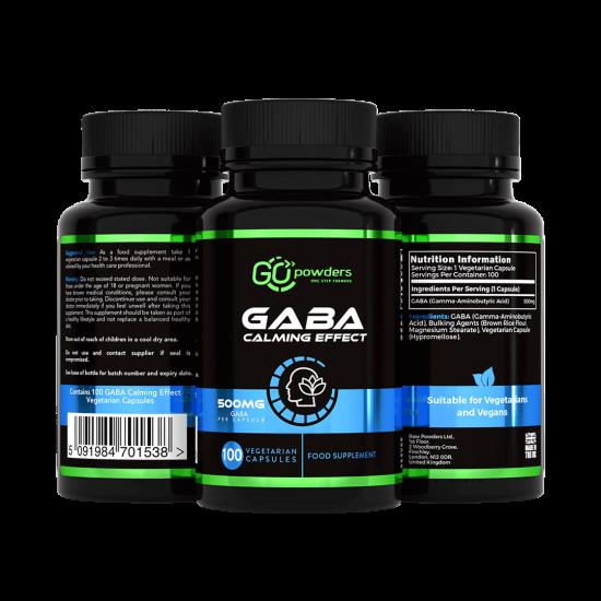 Go Powders Gaba Calming Effect 500 mg. 100 Capsules